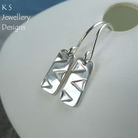 Zigzag Textured Bar Sterling Silver Earrings - Hand Stamped Geometric Metalwork
