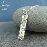 Zigzag Textured Bar Sterling Silver Pendant - Hand Stamped Geometric Metalwork