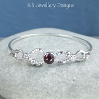 Garnet Twisted Sterling Silver Wire Bangle - Organic Metalwork Gemstone Bracelet
