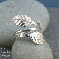 Wraparound Leaves Sterling & Fine Silver Adjustable Leaf Ring (Medium) Open Band