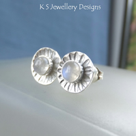 Rainbow Moonstone Daisies - Sterling Silver Stud Earrings - Daisy Flower Discs
