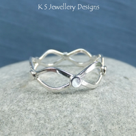 Twisted Wire Sterling Silver Wavy Ring - Handmade Metalwork - Waves Pebbles