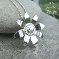 Shiny Daisy - Sterling Silver Flower Pendant - Handmade Metalwork Necklace