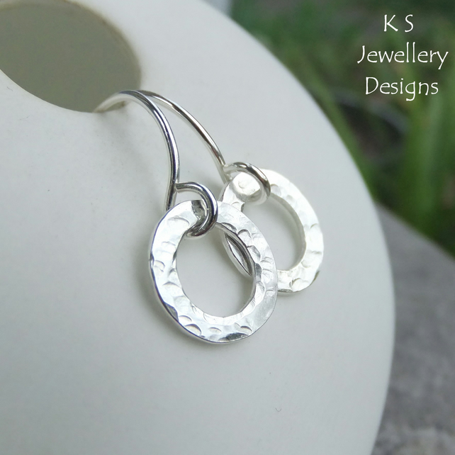 Textured Ovals Sterling Silver Earrings - Handmade Handstamped Metalwork