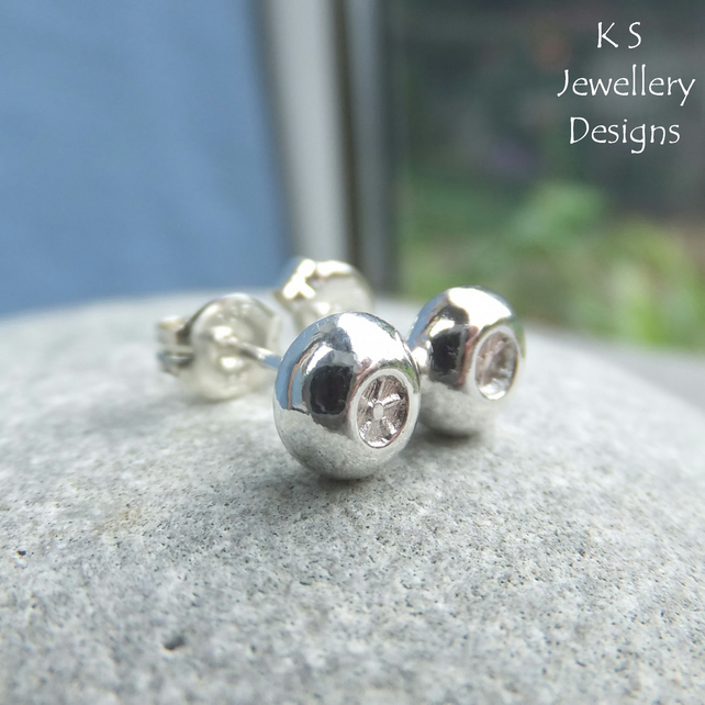 Little Flowers Textured Pebbles - Sterling Silver Stud Earrings - Organic Studs
