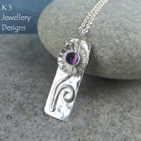 Amethyst Daisy Flower Cup Sterling Silver Rectangular Pendant Handmade Metalwork