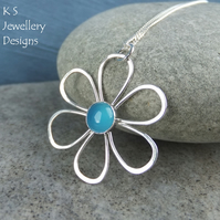 Blue Chalcedony Daisy - Sterling Silver Flower Pendant - Gemstone Metalwork