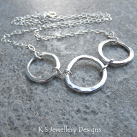 Wonky Circles Sterling Silver Necklace - Dappled Shiny Organic Metalwork