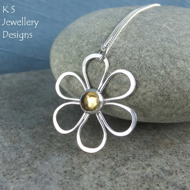 Citrine Daisy - Sterling Silver Flower Pendant - Gemstone Metalwork