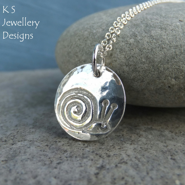 Fine Silver Disc Pendant Necklace - SNAIL - Insect Bug Mollusc Imprint
