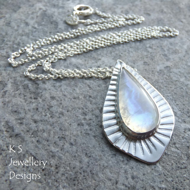 Rainbow Moonstone Stripe Textured Sterling Silver Drop Pendant - Hand Stamped