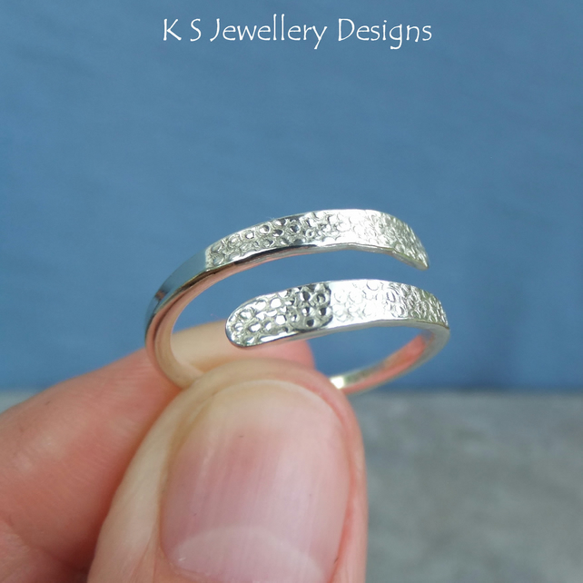 Wraparound Sterling Silver Ring - BUBBLES TEXTURE - Adjustable Open Band Ring