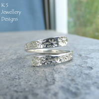 Wraparound Sterling Silver Ring - FLOWERS TEXTURE - Adjustable Open Band Ring