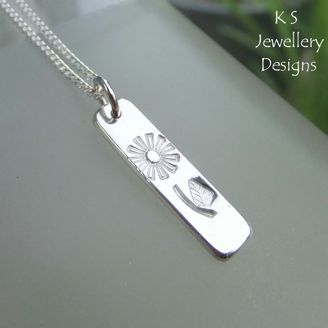 Flower and Leaf Textured Sterling Silver Bar Pendant - Hand Stamped Metalwork