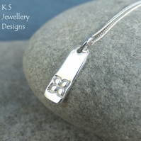 Four Petal Flower Textured Sterling Silver Bar Pendant - Hand Stamped Metalwork