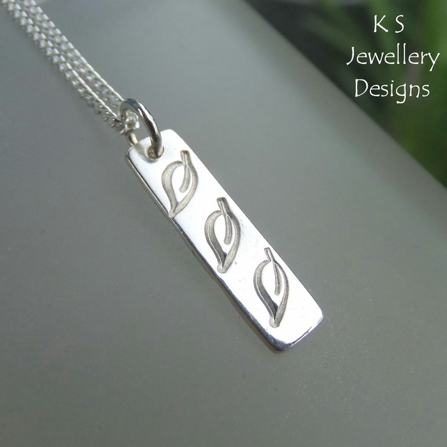 Leaf Trio Textured Sterling Silver Bar Pendant - Hand Stamped Metalwork