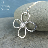 Dappled Flower Sterling Silver Pendant (4 petals) - Wire Flower Textured Petals