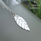 Textured Little Leaf Sterling Silver Pendant - Hand Stamped Metalwork Leaves
