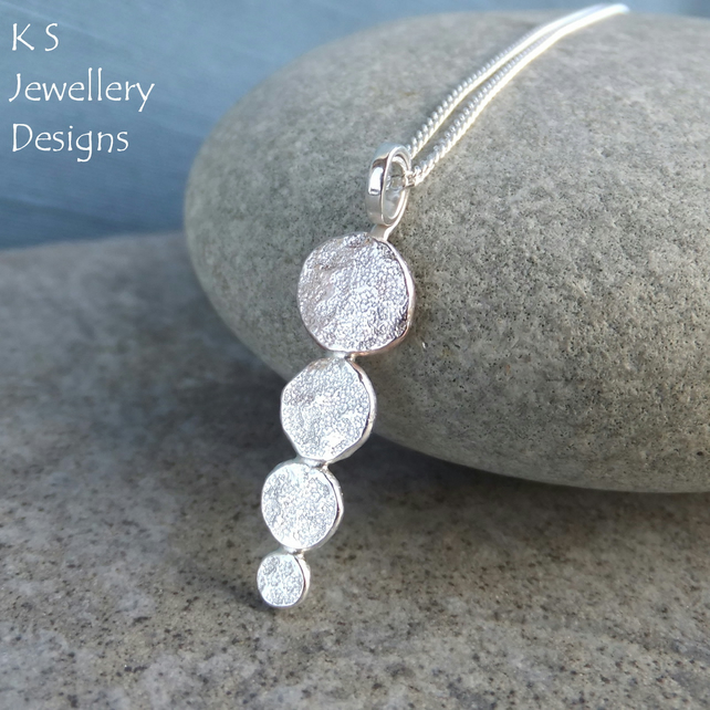 Stepping Stones - Sterling Silver Textured Pebbles Pendant - Organic Metalwork