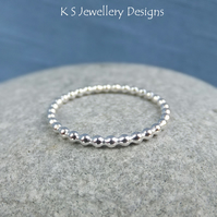 Sterling Silver 1.5mm Beaded Wire Stacking Ring - Handmade Skinny Stacker