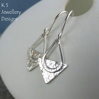 Flowers Textured Triangle Sterling Silver Drop Earrings - Handstamped Metalwork