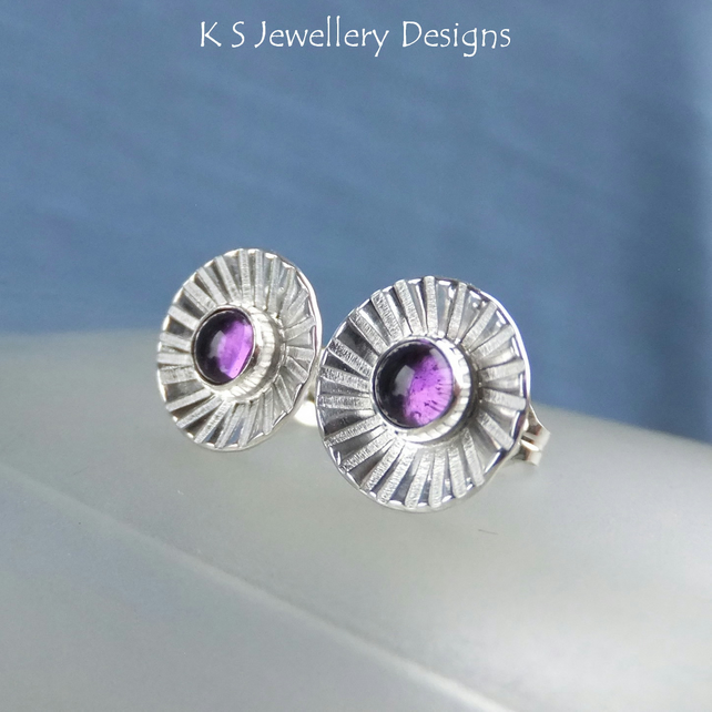 Amethyst Daisy Flower Cup Sterling Silver Stud Earrings - Daisies Discs Studs