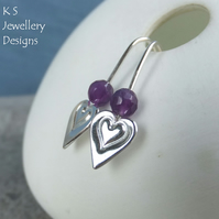 Amethyst Heart Drops - Sterling Silver Earrings - Stamped Hearts - Gemstone