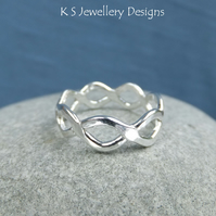 Twisted Wire Sterling Silver Ring - Handmade Metalwork - UK size O US size 7.25