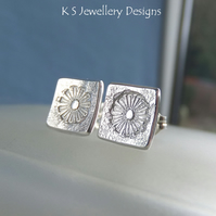 Sterling Silver Stud Earrings - Stamped Flower Squares 4 - Dandelion Textured