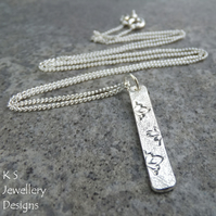 Petals Textured Sterling Silver Bar Pendant - Hand Stamped Metalwork Floral