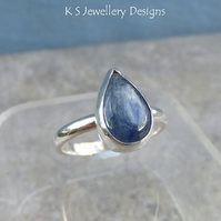 Kyanite Sterling Silver Teardrop Gemstone Ring - UK size P - US 7.75 - Metalwork