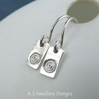 Circles & Bark Textured Bar Sterling Silver Earrings - Hand Stamped Metalwork