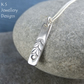 Leaf Textured Sterling Silver Bar Pendant - Hand Stamped Metalwork