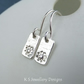 Daisies & Bark Textured Bar Sterling Silver Earrings - Hand Stamped Metalwork
