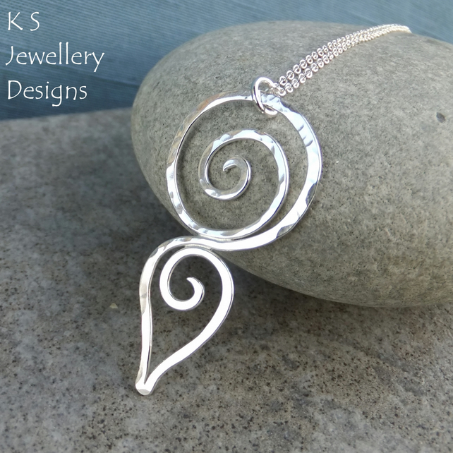 Hammered Spiral Circle Teardrop Sterling Silver Pendant - Dappled Shiny Organic