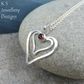 Garnet Double Wire Heart Sterling Silver Pendant - Gemstone Lovehearts Hearts