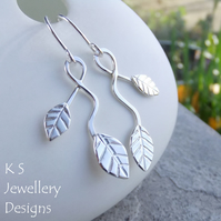 Winding Leaves Sterling Silver Earrings V1 - Handstamped Metalwork Leaf Earrings