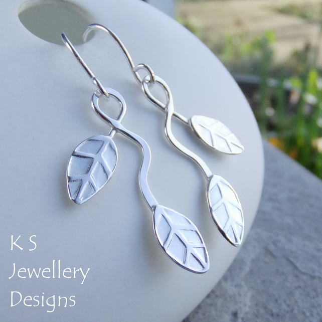 Winding Leaves Sterling Silver Earrings V2 - Handstamped Metalwork Leaf Earrings