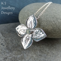 Green Amethyst Dappled Flower Sterling Silver Pendant - Four Petals Gemstone