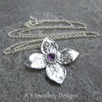 Amethyst Dappled Flower Sterling Silver Pendant - Four Petals Gemstone