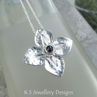 Iolite Dappled Flower Sterling Silver Pendant - Four Petals Gemstone