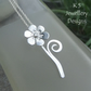 Shiny Flower & Swirl Sterling Silver Pendant - Metalwork Floral Necklace