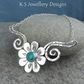 Turquoise Daisy Flower and Dappled Swirls Necklace - Gemstone Floral Jewellery