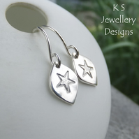 Stamped Star Drops Sterling Silver Earrings - Metalwork Textured Jewellery