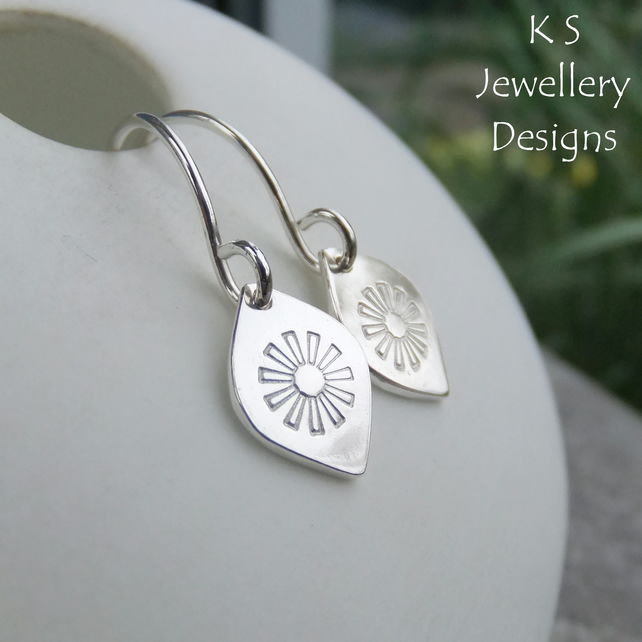 Stamped Daisy Flower Drops Sterling Silver Earrings - Metalwork Floral Jewellery