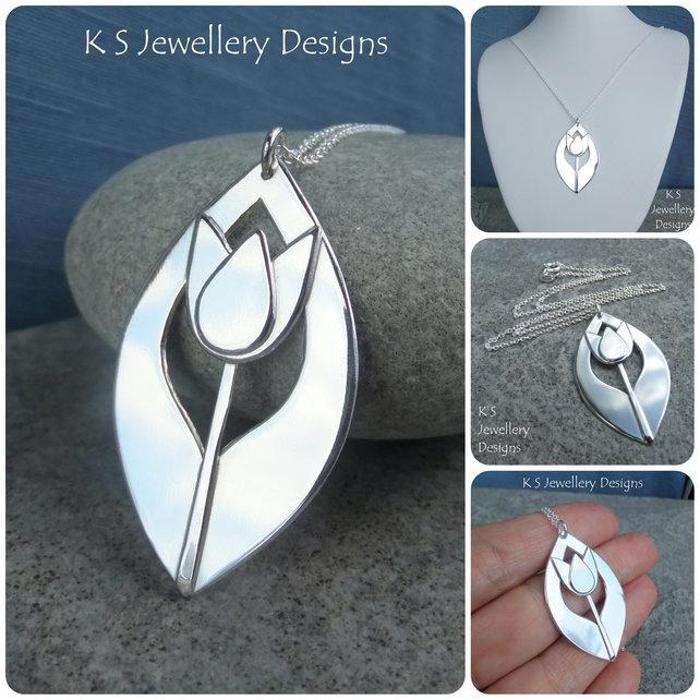 Shiny Tulip Drop Sterling Silver Pendant - Handmade Metalwork Flower Floral