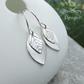 Double Leaf Drop Sterling Silver Earrings - LEAVES - Handmade Handstamped Dangly
