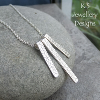 Bubbles Textured Bars Sterling Silver Necklace - Handstamped Metalwork Jewellery