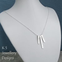 Bark Textured Bars Sterling Silver Necklace - Hand Stamped Metalwork Jewellery