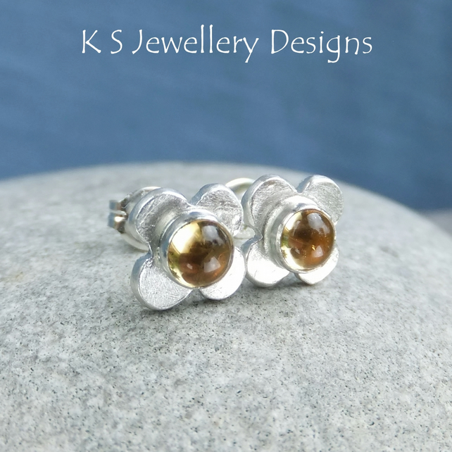 Citrine Rustic Flowers - Sterling Silver Stud Earrings - Gemstone Flower Studs